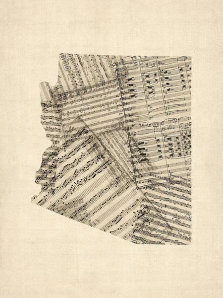 Digital Art - Arizona Map, Old Sheet Music Map by Michael Tompsett