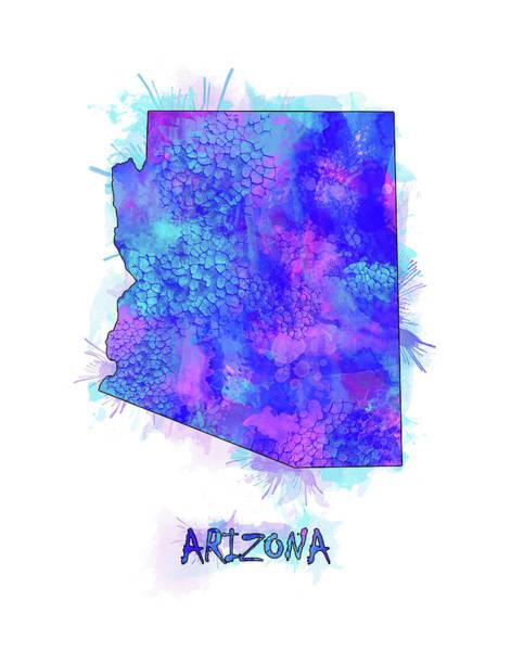 Wall Art - Digital Art - Arizona Map Watercolor 2 by Bekim M