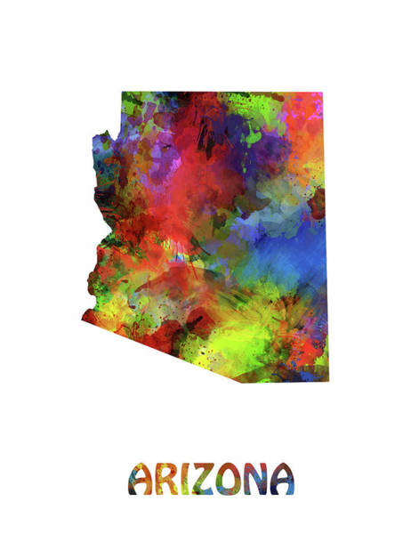 Southwest Digital Art - Arizona Map Watercolor by Bekim Art