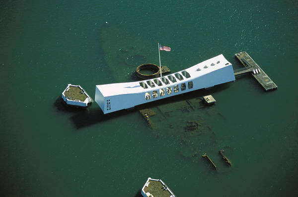 Uss Arizona Wall Art - Photograph - Arizona Memorial Aerial by Dana Edmunds - Printscapes