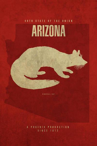 Wall Art - Mixed Media - Arizona State Facts Minimalist Movie Poster Art by Design Turnpike