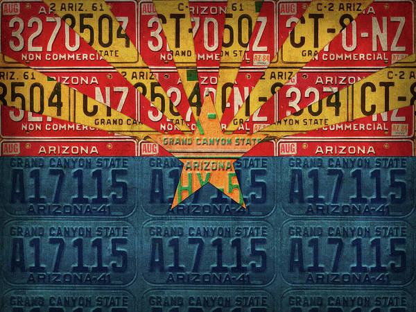 Wall Art - Mixed Media - Arizona State Flag Vintage License Plate Art by Design Turnpike