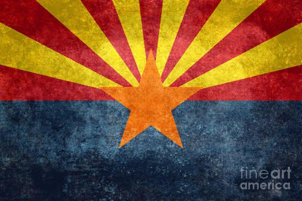 Wall Art - Digital Art - Arizona State Flag Vintage Retro Style by Bruce Stanfield
