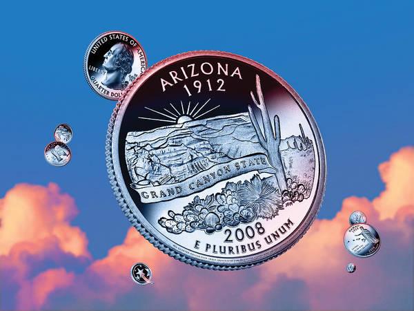 Declaration Of Independence Digital Art - Arizona State Quarter - Sky Coin 48 by Garrett Burke