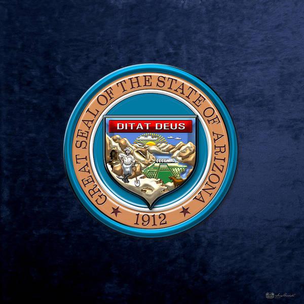 Digital Art - Arizona State Seal Over Blue Velvet by Serge Averbukh