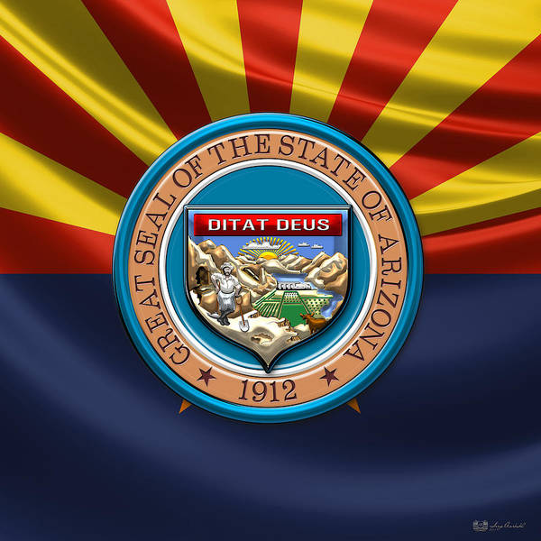 Digital Art - Arizona State Seal Over Flag by Serge Averbukh