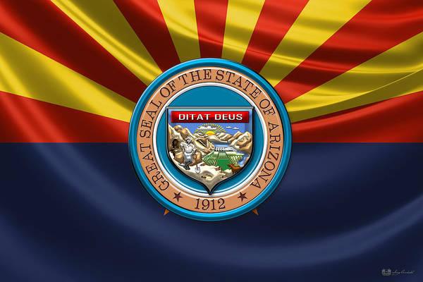 Digital Art - Arizona State Seal Over State Flag by Serge Averbukh