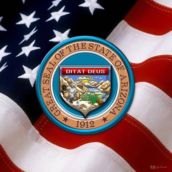 Digital Art - Arizona State Seal Over U.s. Flag by Serge Averbukh