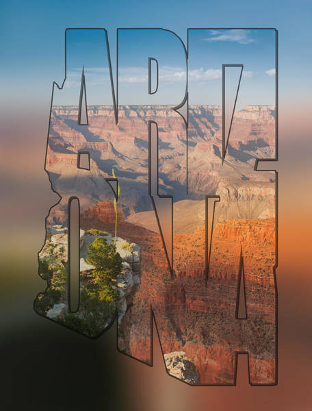 Photograph - Arizona Typography Blur - Grand Canyon At Sunset by Gregory Ballos