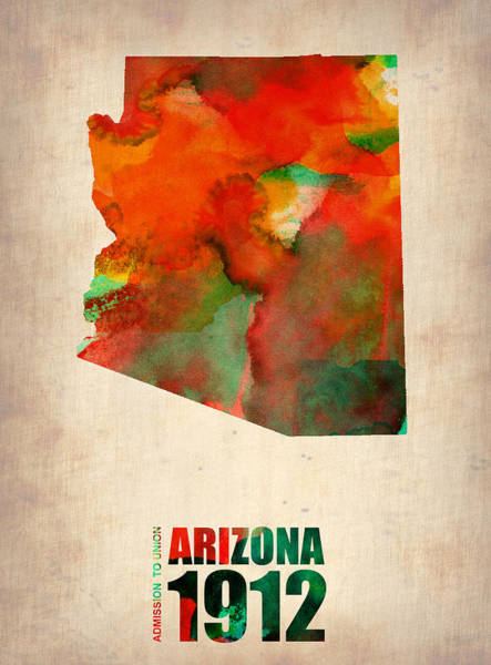 Wall Art - Digital Art - Arizona Watercolor Map by Naxart Studio