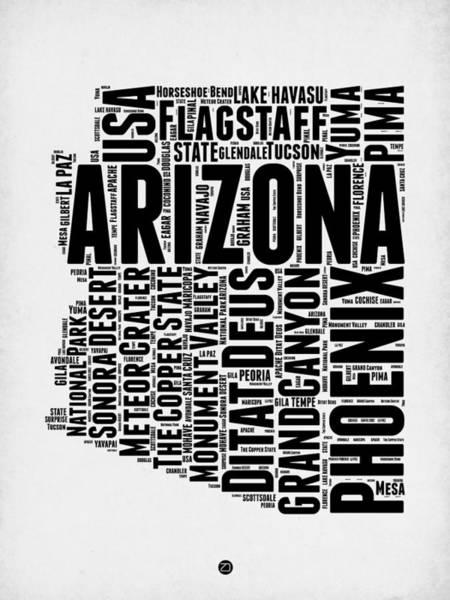 Phoenix Arizona Wall Art - Digital Art - Arizona Word Cloud Map 2 by Naxart Studio