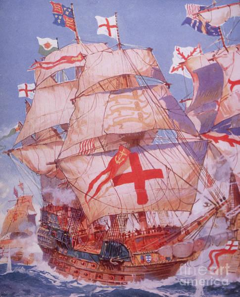 Set Sail Painting - Ark Royal Fighting Spanish Armada In 1588 by British School