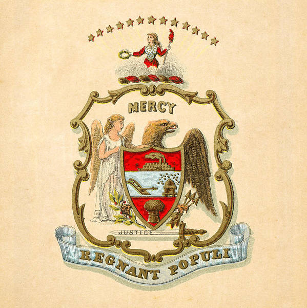 Digital Art - Arkansas Historical Coat Of Arms Circa 1876 by Serge Averbukh