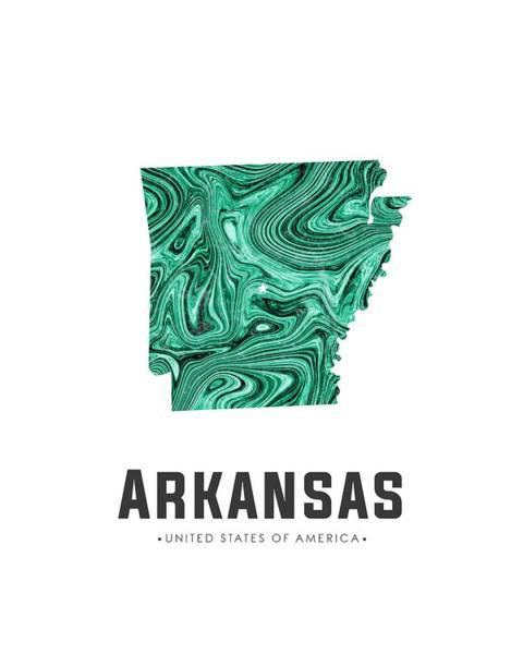 Arkansas Mixed Media - Arkansas Map Art Abstract In Green by Studio Grafiikka