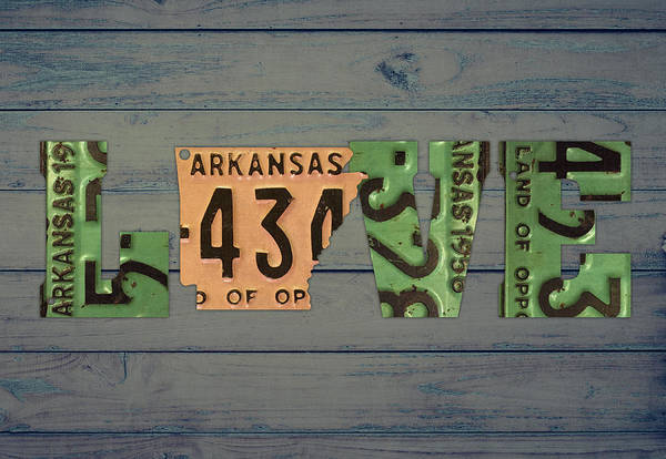 Arkansas Mixed Media - Arkansas State Love Heart License Plates Art Phrase by Design Turnpike