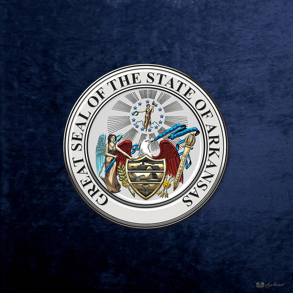 Digital Art - Arkansas State Seal Over Blue Velvet by Serge Averbukh