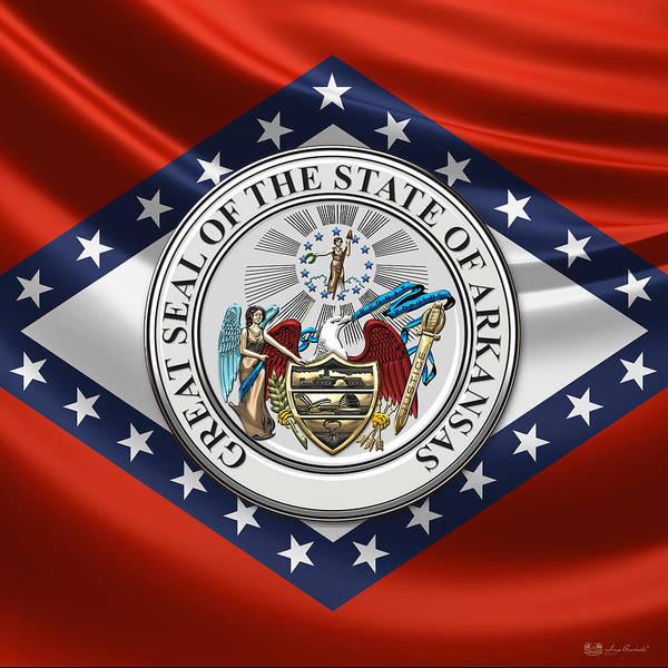 Digital Art - Arkansas State Seal Over Flag by Serge Averbukh