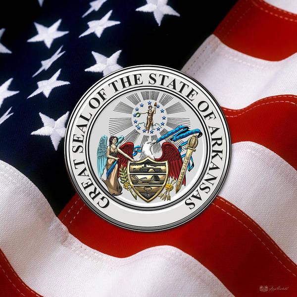Digital Art - Arkansas State Seal Over U.s. Flag by Serge Averbukh