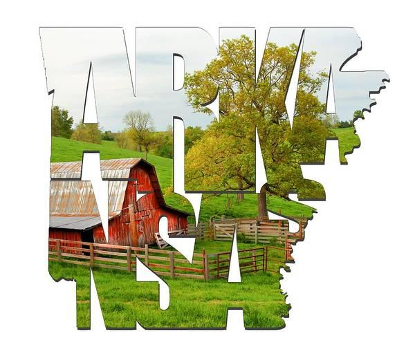 Photograph - Arkansas Typographic Artwork - Pure Arkansas by Gregory Ballos