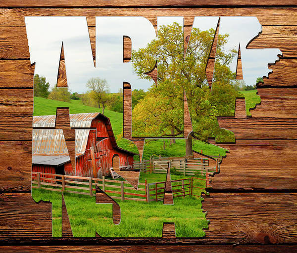 Photograph - Arkansas Typographic Artwork On Wood - Pure Arkansas On Wood by Gregory Ballos