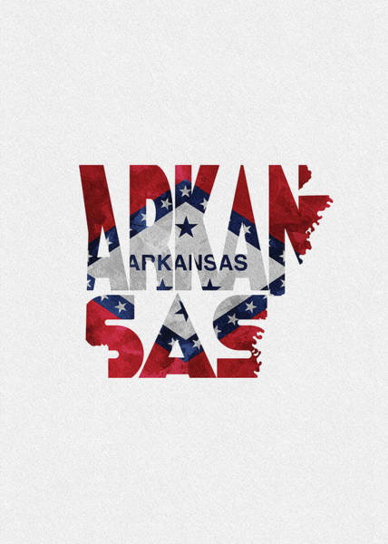 Wall Art - Digital Art - Arkansas Typographic Map Flag by Inspirowl Design