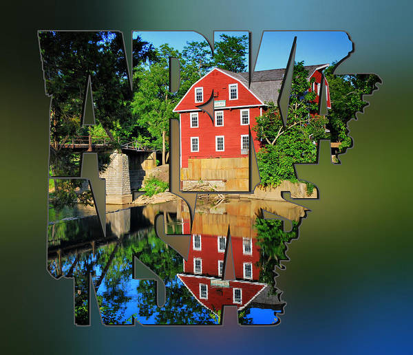 Photograph - Arkansas Typography Blur - State Shapes Series - War Eagle Mill And Bridge - Arkansas by Gregory Ballos