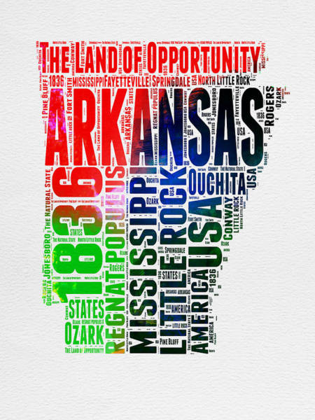 Map Art Mixed Media - Arkansas Watercolor Word Cloud  by Naxart Studio