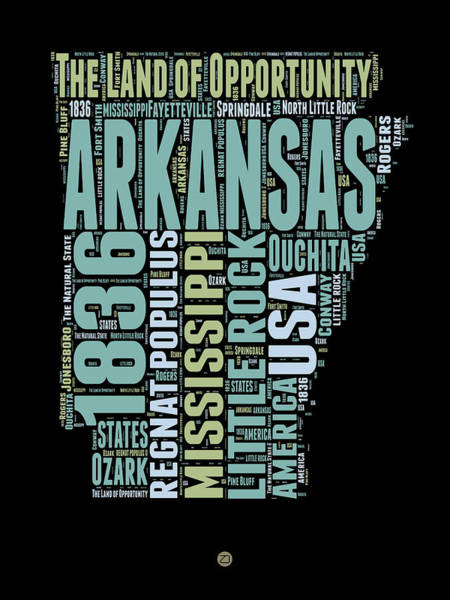Map Art Mixed Media - Arkansas Word Cloud 1 by Naxart Studio