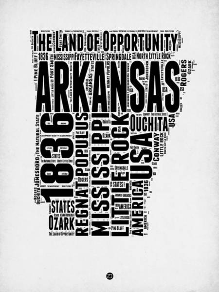 Map Art Mixed Media - Arkansas Word Cloud 2 by Naxart Studio