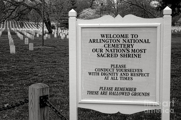 Wall Art - Photograph - Arlington Cemetery Sign by Olivier Le Queinec