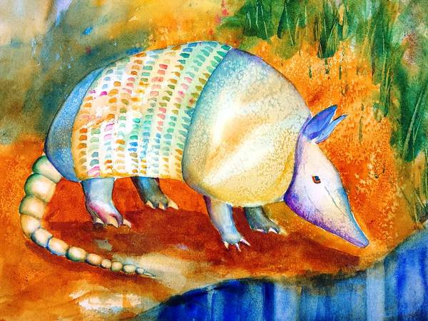 Best Selling Painting - Armadillo Reflections by Carlin Blahnik CarlinArtWatercolor