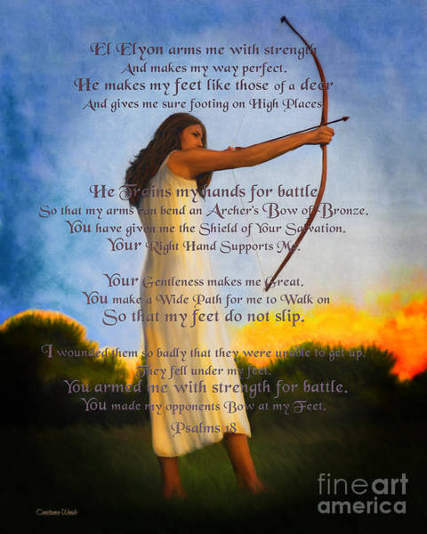 Wall Art - Digital Art - Armed For Battle Psalm 18 by Constance Woods