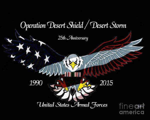Drawing - Armed Forces Desert Storm by Bill Richards