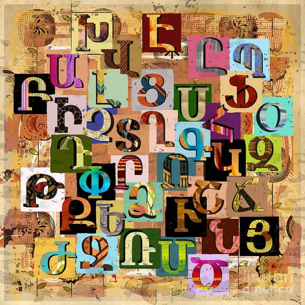 Wall Art - Digital Art - Armenian Textural Alphabet by Peter Awax