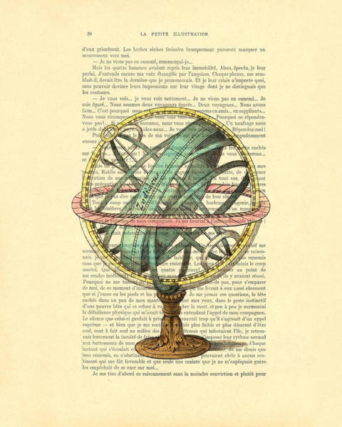 Vintage Dictionary Wall Art - Digital Art - Armillary Sphere In Color Antique Illustration On Book Page by Madame Memento