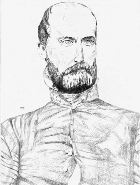 Confederate Soldier Drawing - Armistead by Dennis Larson