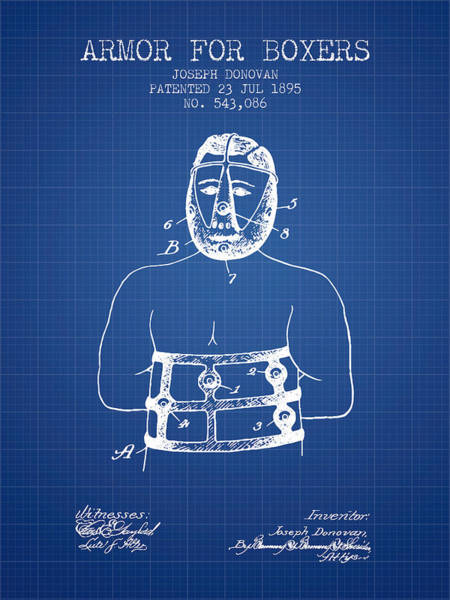 Wall Art - Digital Art - Armor For Boxers Patent From 1895 - Blueprint by Aged Pixel