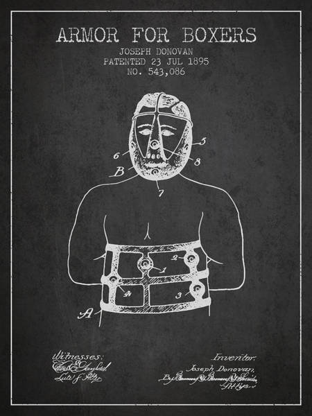 Wall Art - Digital Art - Armor For Boxers Patent From 1895 - Charcoal by Aged Pixel