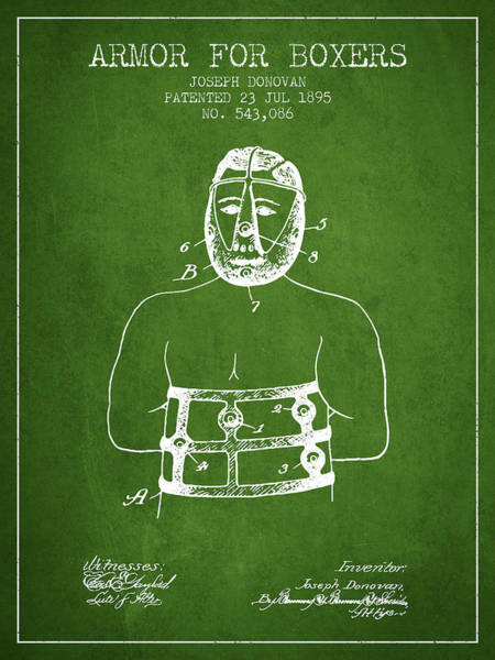 Wall Art - Digital Art - Armor For Boxers Patent From 1895 - Green by Aged Pixel
