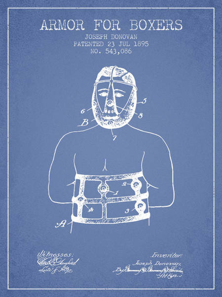 Wall Art - Digital Art - Armor For Boxers Patent From 1895 - Light Blue by Aged Pixel