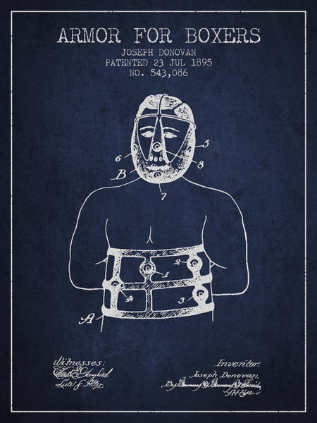 Wall Art - Digital Art - Armor For Boxers Patent From 1895 - Navy Blue by Aged Pixel