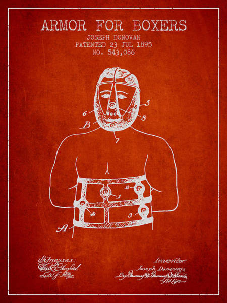Wall Art - Digital Art - Armor For Boxers Patent From 1895 - Red by Aged Pixel