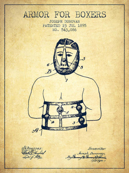 Wall Art - Digital Art - Armor For Boxers Patent From 1895 - Vintage by Aged Pixel