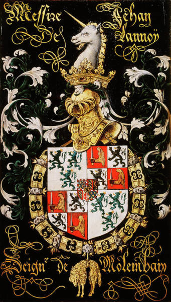 Pendant Painting - Armorial Plates From The Order Of The Golden Fleece - 1 by Lukas de Heere