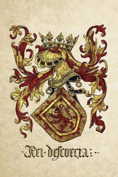 Digital Art - Arms Of King Of Scotland - Livro Do Armeiro-mor by Serge Averbukh