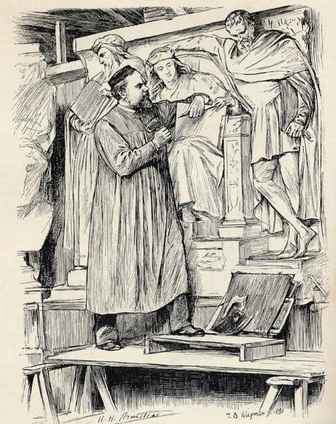 Wall Art - Drawing - Armstead At Work Henry Hugh Armstead by Vintage Design Pics
