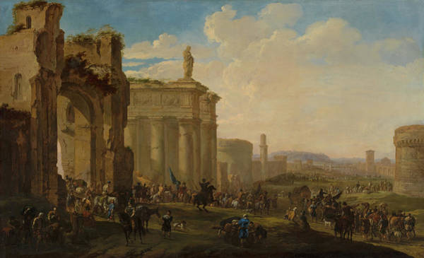 Collapse Painting - Army Advancing Among Roman Ruins by Jacob van der Ulft