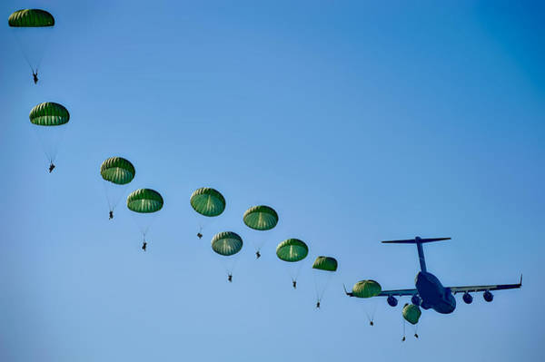 C-17 Photograph - Army Rangers Jumping by Mountain Dreams