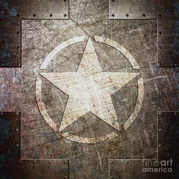 Digital Art - Army Star On Steel by Fred Ber