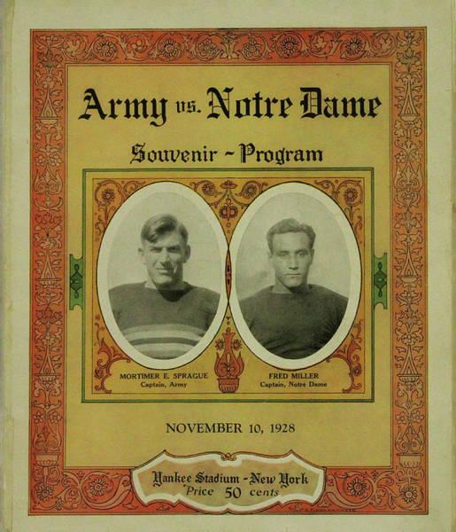 Photograph - Army Vs Notre Dame Souvenir Program November 10 1928 by Bill Cannon